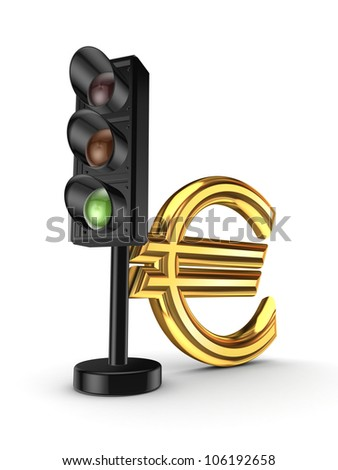 Traffic light and euro sign.Isolated on white background.3d rendered.