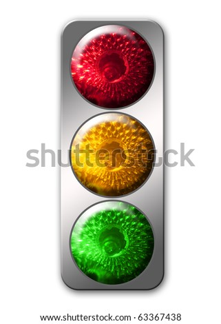 traffic light color image isolated on a white background