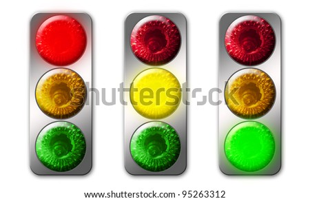 traffic light colors  image isolated on a white background - stock photo