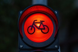 traffic light for bicycles with red light as a sign of prohibited passage