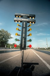 Traffic light for drag racing, bottom view, wide angle, vertical
