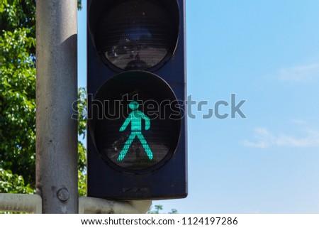 traffic light in bavarian city wangen summer sunshine day blue sky #1124197286