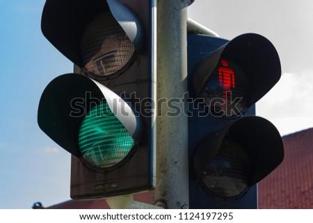 traffic light in bavarian city wangen summer sunshine day blue sky #1124197295