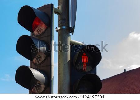 traffic light in bavarian city wangen summer sunshine day blue sky #1124197301