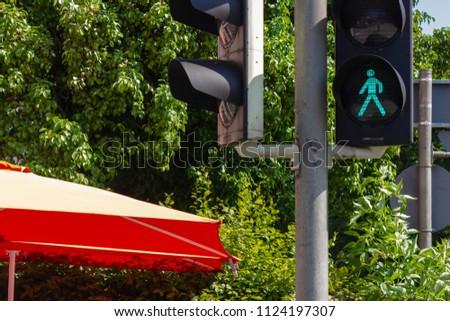 traffic light in bavarian city wangen summer sunshine day blue sky #1124197307