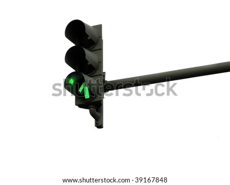 Traffic light in green isolated on white background