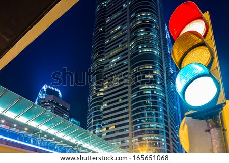Traffic light in modern city