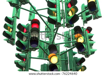 Traffic light isolated on the white background (Eilat. Israel)