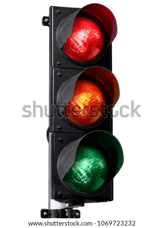 traffic light isolated on white background - Shutterstock ID 1069723232