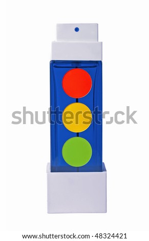 traffic light of bottle of perfume ang eyeshadows