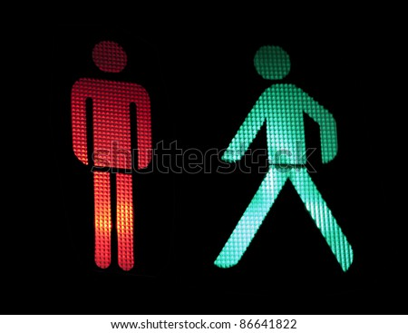 Traffic light of pedestrians. Isolated black