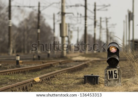 Traffic light on railway - stock photo