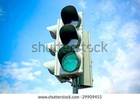 Traffic-light on sky background