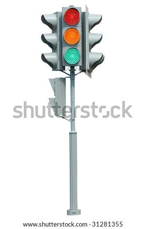 Traffic light on white background