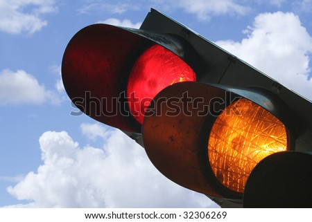 Traffic light showing red and yellow