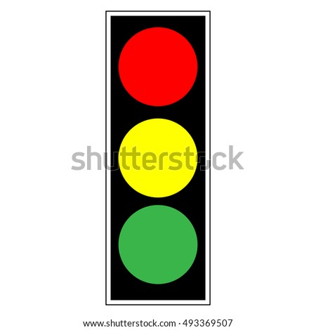 Traffic Light Sign Icon Stoplight In Black Rectangle On White