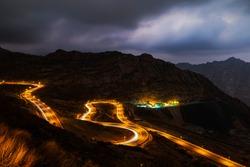 Traffic light trails along the zig zag road in Al Hada, Taif region of Saudi Arabia