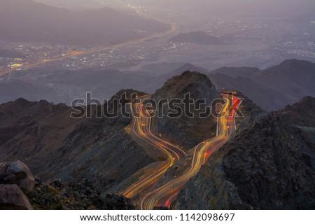 Traffic light trials night photography, zig zag road Al Hada, Taif - Saudi arabia