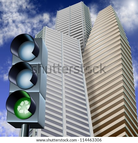Traffic light with a recycle symbol on it and city skyscrapers in the background / Recycling and business
