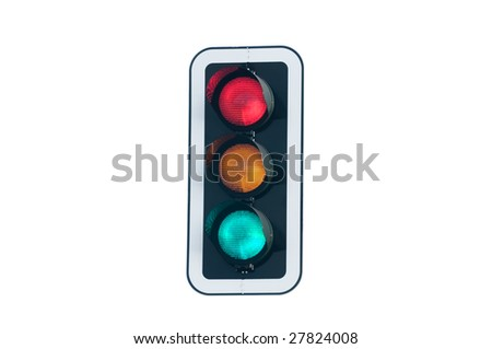 traffic light with all lights on - stock photo