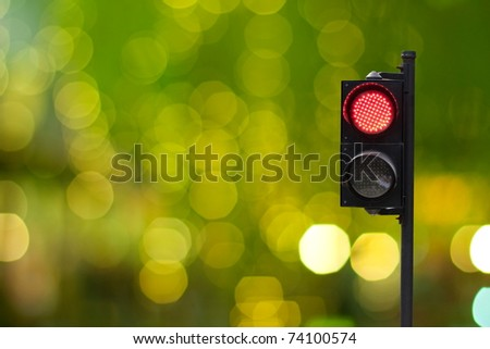 Traffic light with blur background - stock photo
