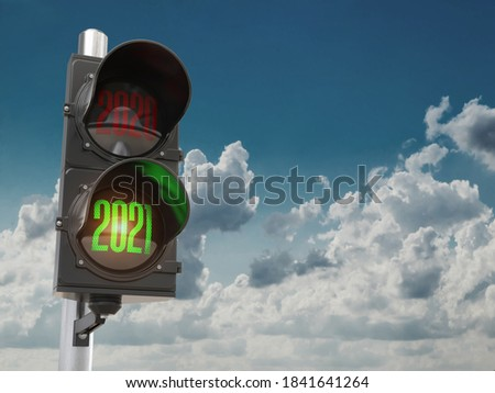 Traffic light with green light 2021 and red 2020 on sky background. Start New 2021 Year concept. 3d illustration Foto d'archivio ©