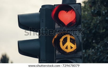 traffic light with red heart-shape Peace sign