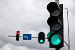Traffic lights above a street