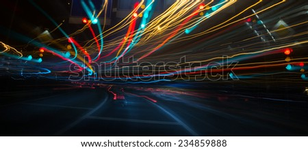 Photo of  Traffic lights and cars, long exposure in motion