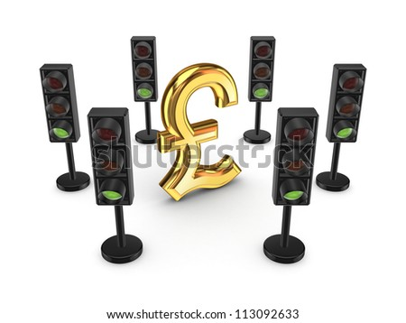 Traffic lights around pound sterling sign.Isolated on white background.3d rendered.