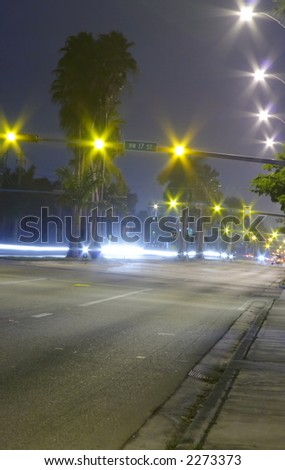 Traffic Lights at Night - stock photo