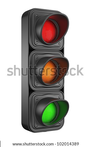 Traffic lights 3d. Movement road control. Isolated on white background