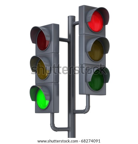 Traffic lights isolated on white