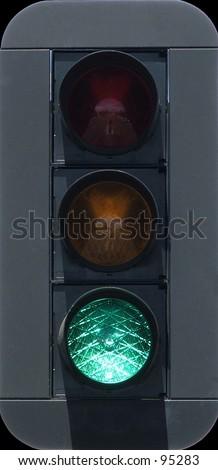 Traffic lights lighted green