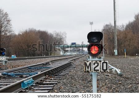 Traffic lights on railway