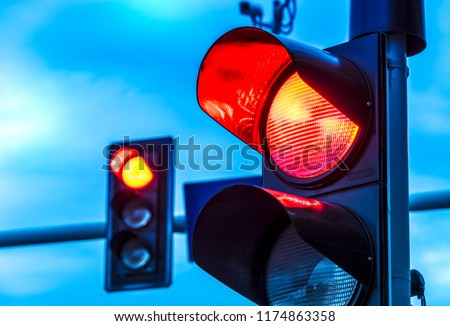 Traffic lights over urban intersection. Red light #1174863358