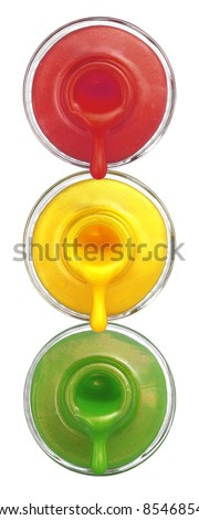 Traffic Lights Pouring Nail Polish isolated on white