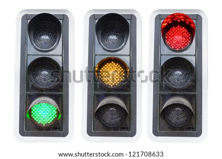 traffic lights showing red green and red isolated on white concepts for go and stop and structure chaos