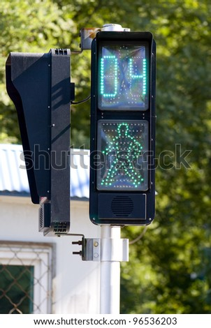 Traffic lights,the sidewalk opposite the timing of traffic lights/Traffic lights