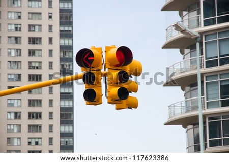 Traffic lights with red, yellow
