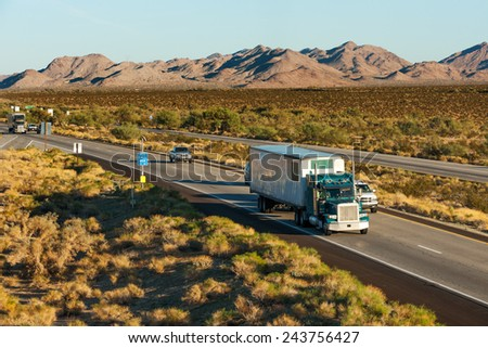 Traffic moving across America on interstate I-10, Arizona