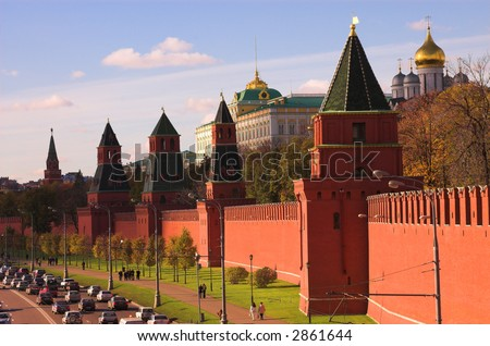 Traffic near Kremlin wall, Moscow, Russia