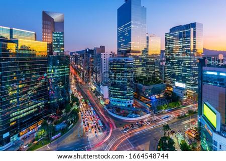 Traffic of Seoul City Skyscraper at Gangnam square,South Korea