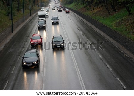 Traffic on a wet road after rain