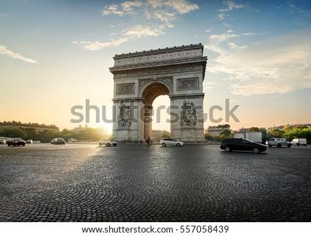 Traffic on Avenue de la Grande Armee near Arc de Triomphe in Paris, France