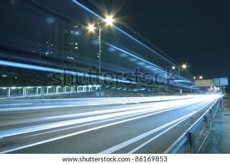 Traffic on highway of Hong Kong at night