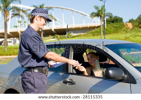 traffic police checking driver's license