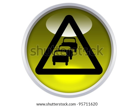 traffic queues likely ahead symbol on yellow glossy signage isolated over white background