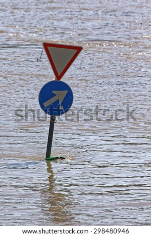 Traffic regulations in the flood.