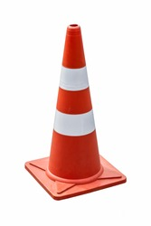 Traffic road cone pylon on white background